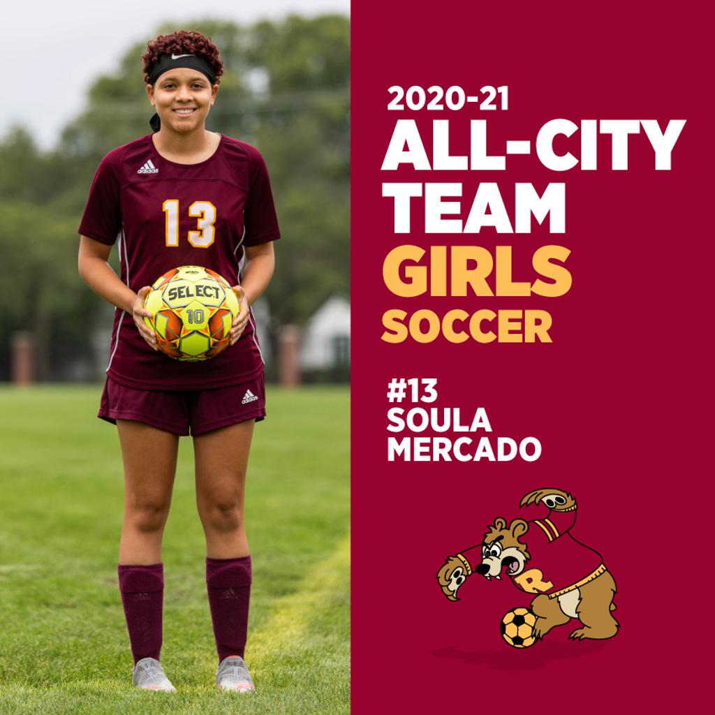 Congrats to #13 Soula Mercado for being named to the All-City Girls Soccer Team. What a great season Soula!⚽️