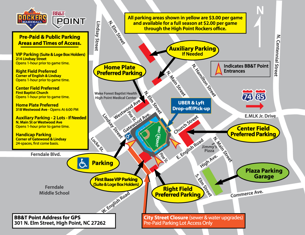 BB&T Point Parking Map