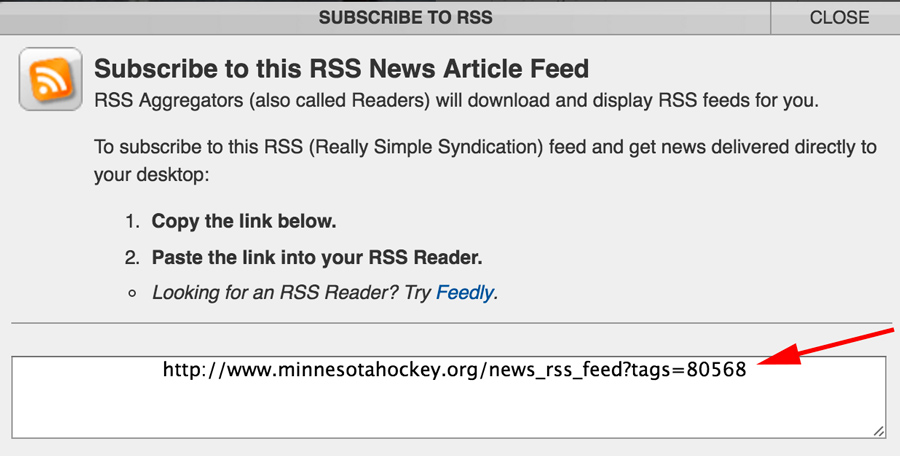 Custom RSS feed is quick way to add content