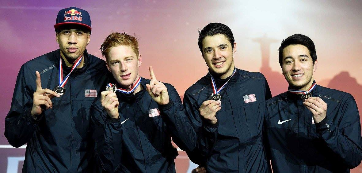 U S Men S Foil Team Sweeps Golds In Paris Qualifies For Rio