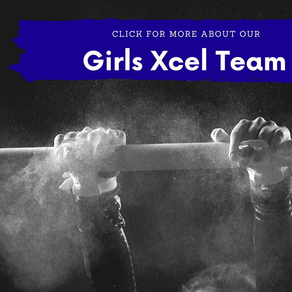 Girls Xcel Team - Girl swinging on bar with lots of chalk