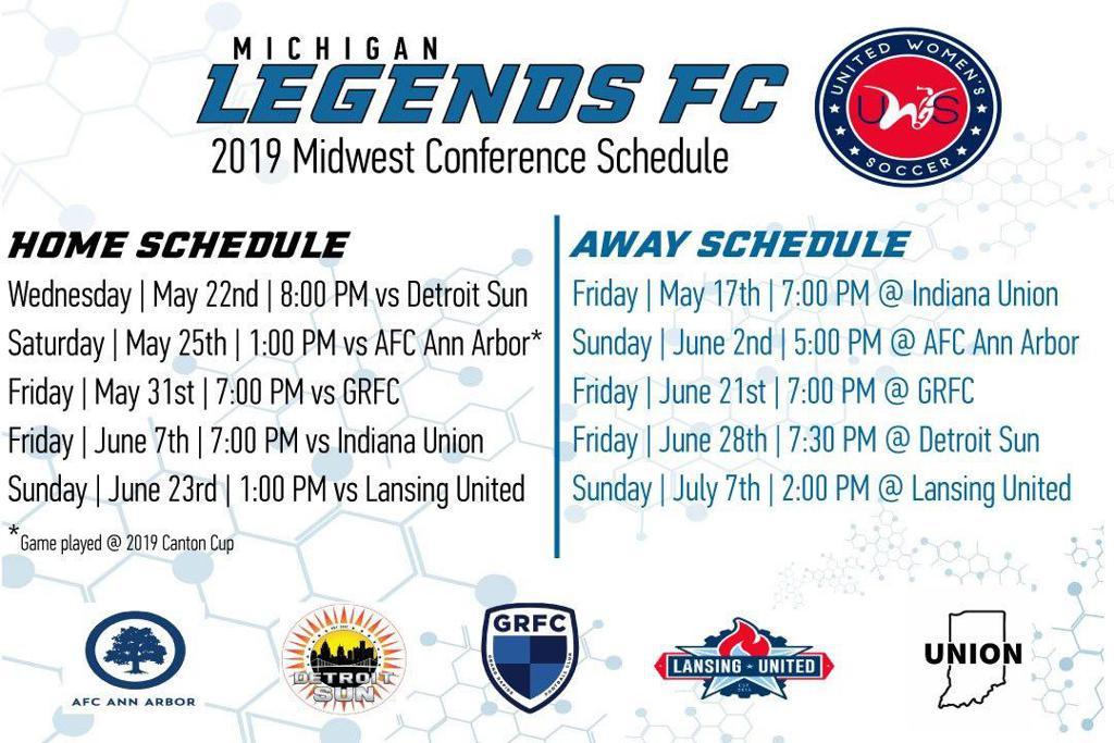 UWS Legends FC 2019 schedule