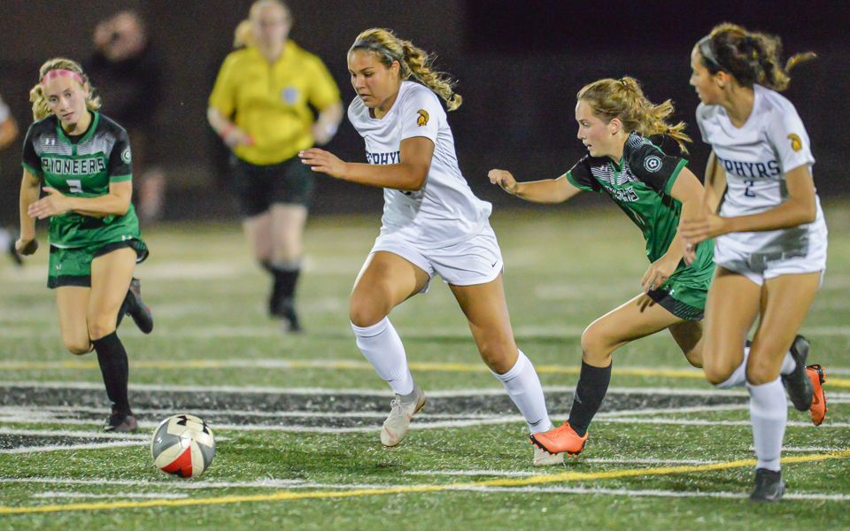 Mahtomedi's Erika Broten splits the defense during a drive in the first half Thursday night in the Zephyrs' 1-0 loss to the Pioneers at Hill-Murray. Photo by Earl J. Ebensteiner, SportsEngine