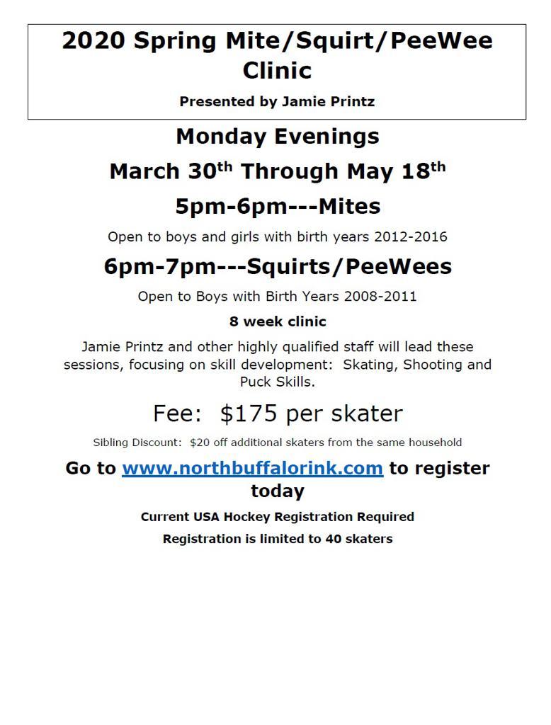 2020 Spring Mite/Squirt/PeeWee Clinic Presented by Jamie Printz