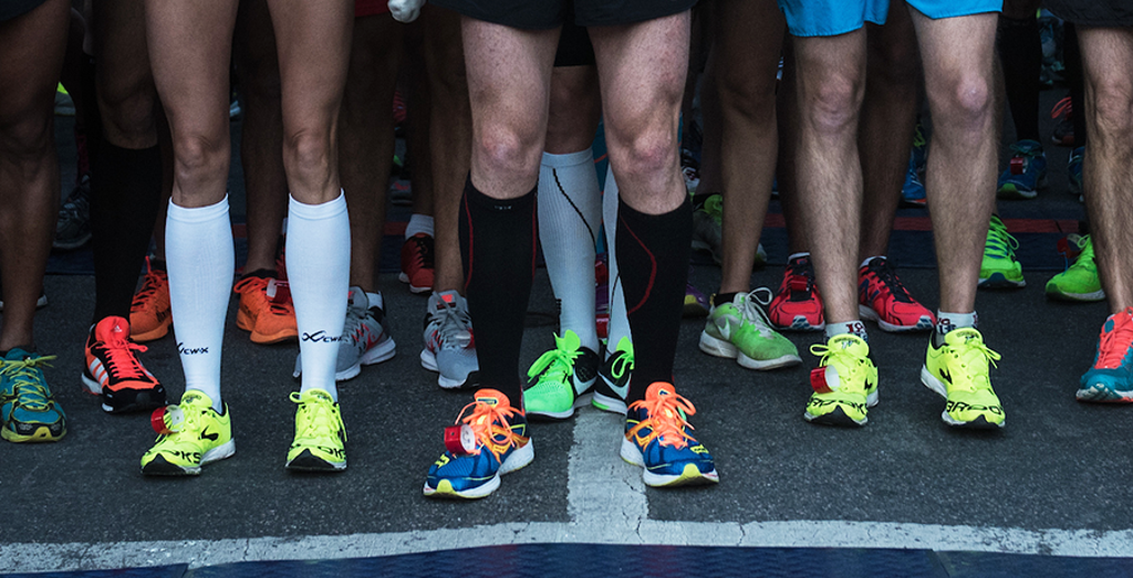 Many shoes on runners feet