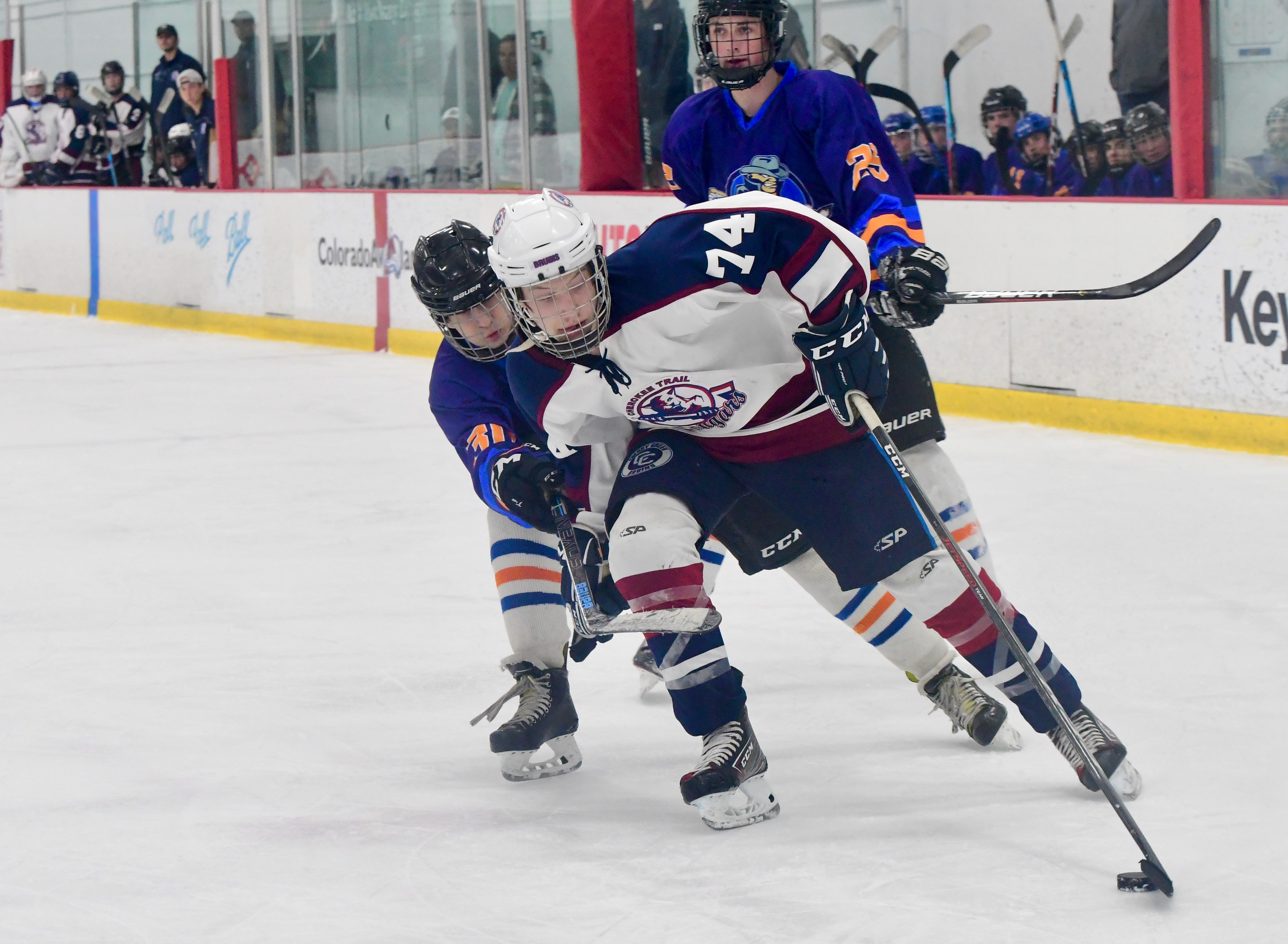 Cherokee Trail II's Luke Brennan maneuvers around two WLTV defenders in the Cougars' 3-2 victory over the Wranglers at Family Sports Center on May 29. Cherokee Trail handed WLTV its first loss of the season. Photo by Steven Robinson, SportsEngine