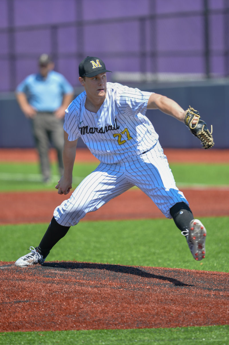 Duluth Marshall pitcher Ben Pedersen made this year's Class 2A all-tournament team in addition to winning a state title. He was one of three Hilltoppers to make the squad. Photo by Earl J. Ebensteiner, SportsEngine