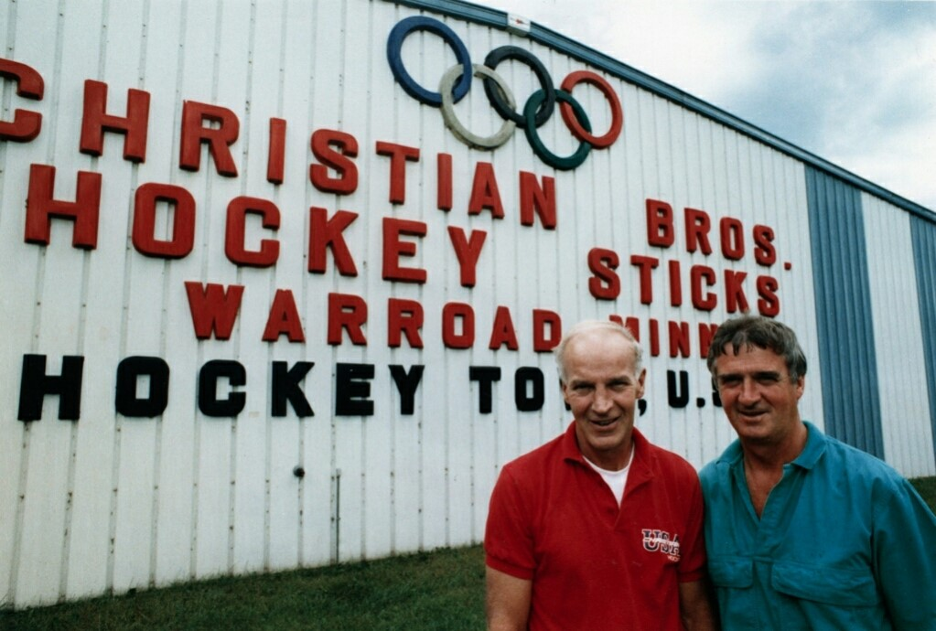 Bill Christian (right) and brother Roger. Credit: Courtesy Vintagemnhockey.com.