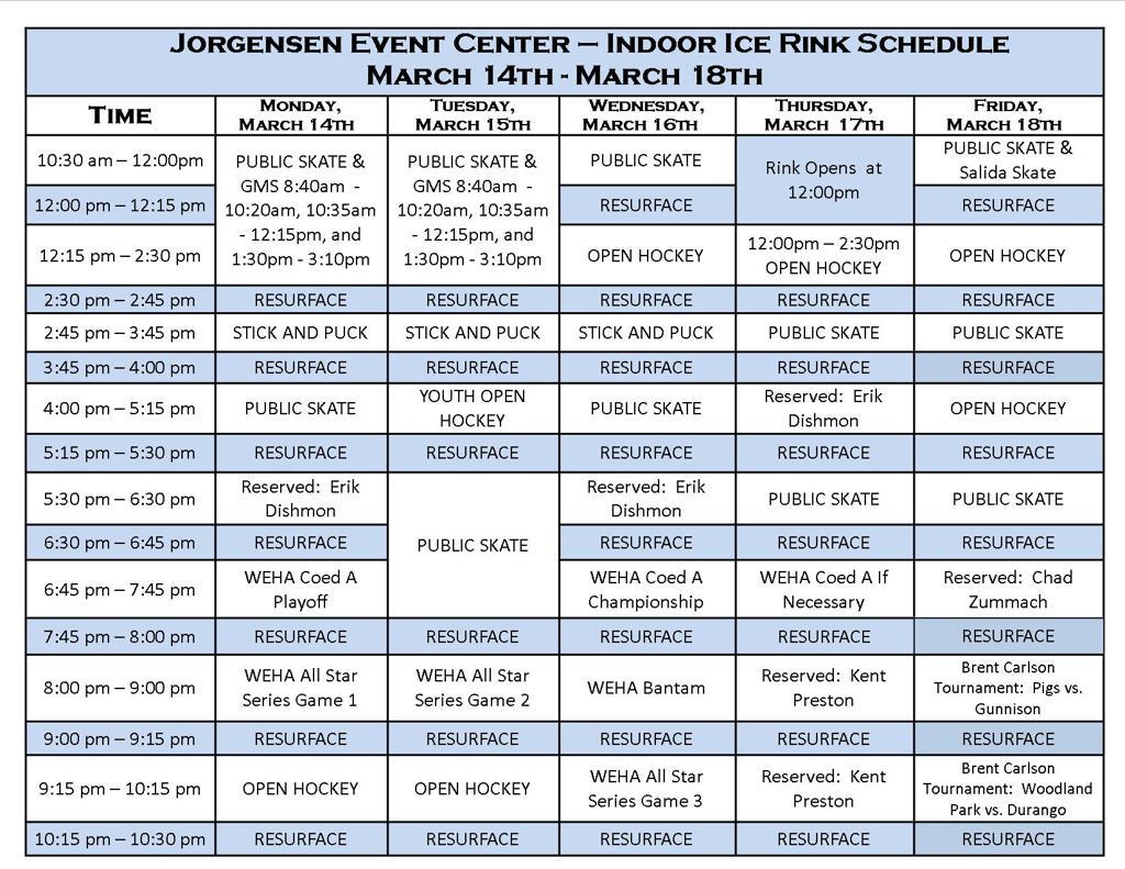 rink schedule