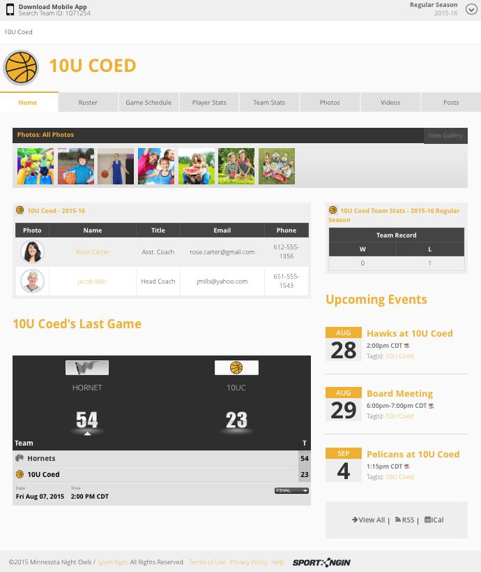 Example Rec Team Page