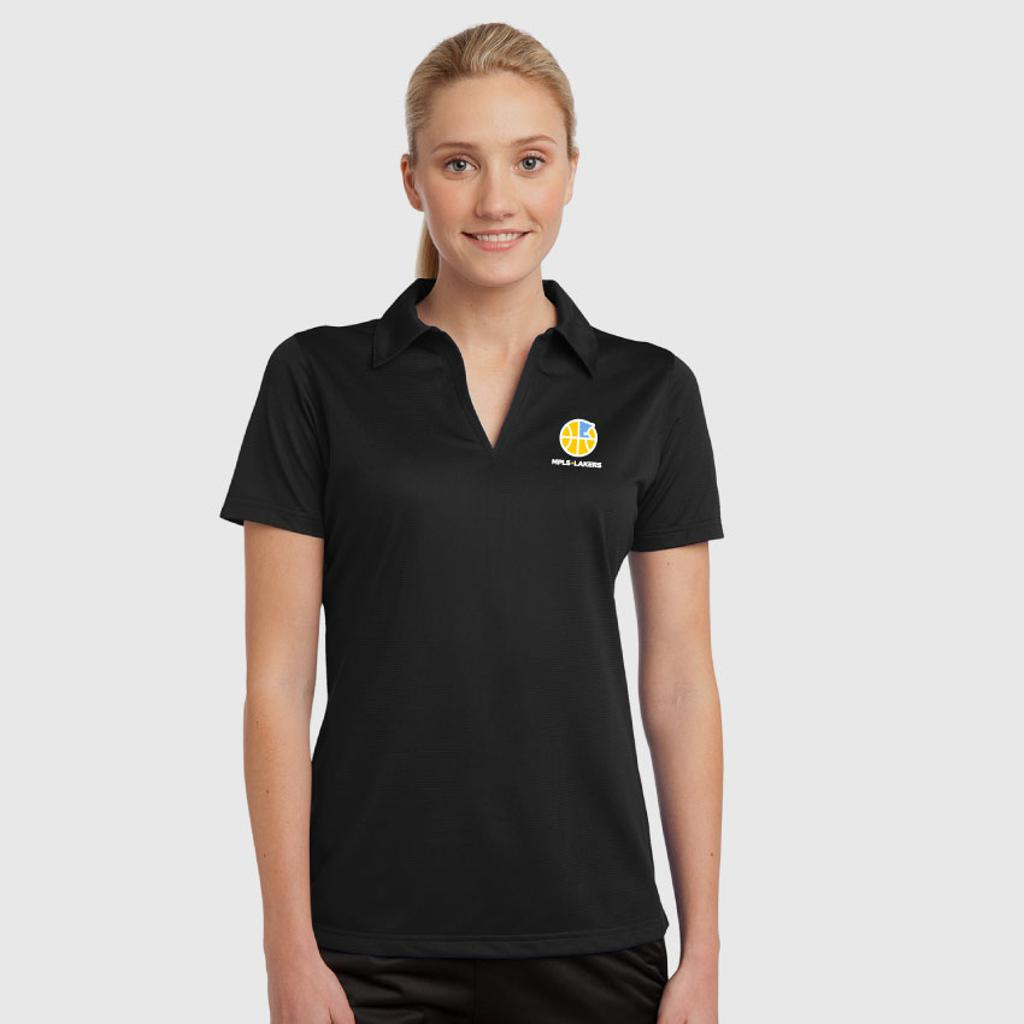 Women's Black polo shirt with embroidered logo and text