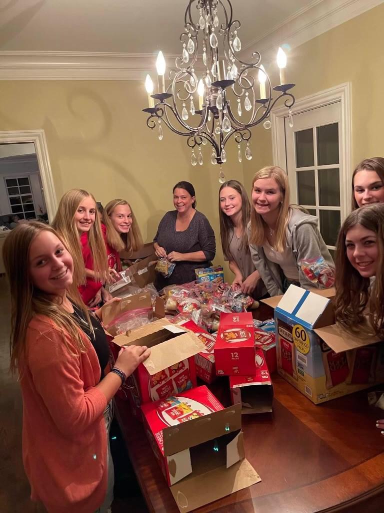 Donating gift bags at the Ronald McDonald House