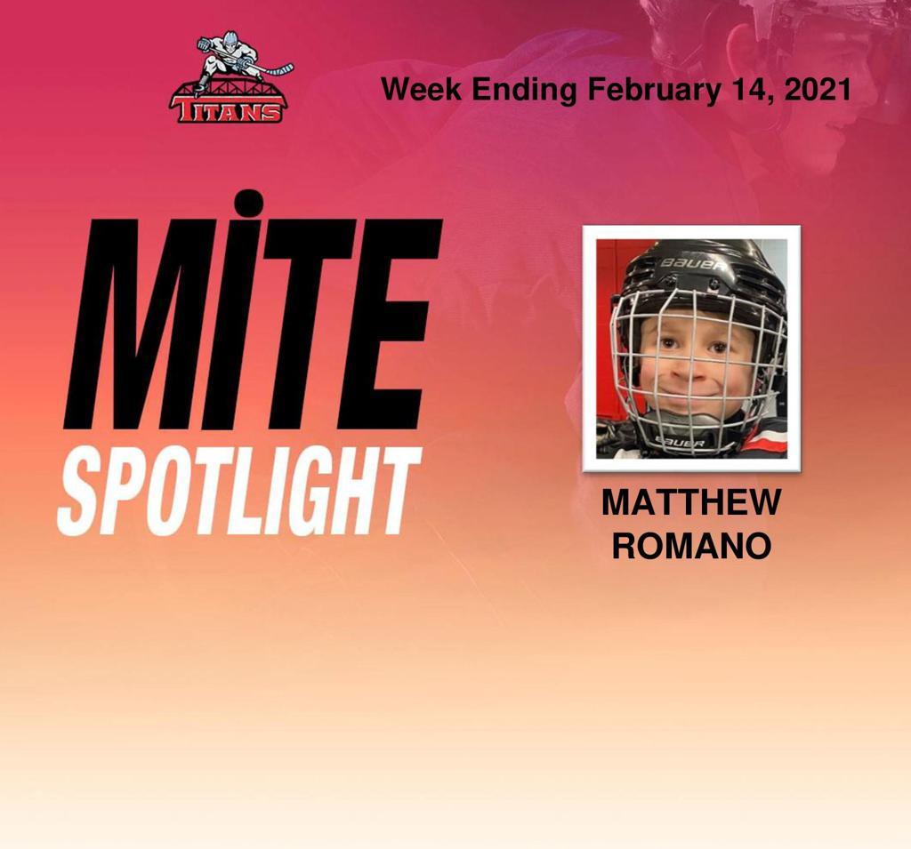 Titans announce Matthew Romano as Mite Spotlight for week ending February 14