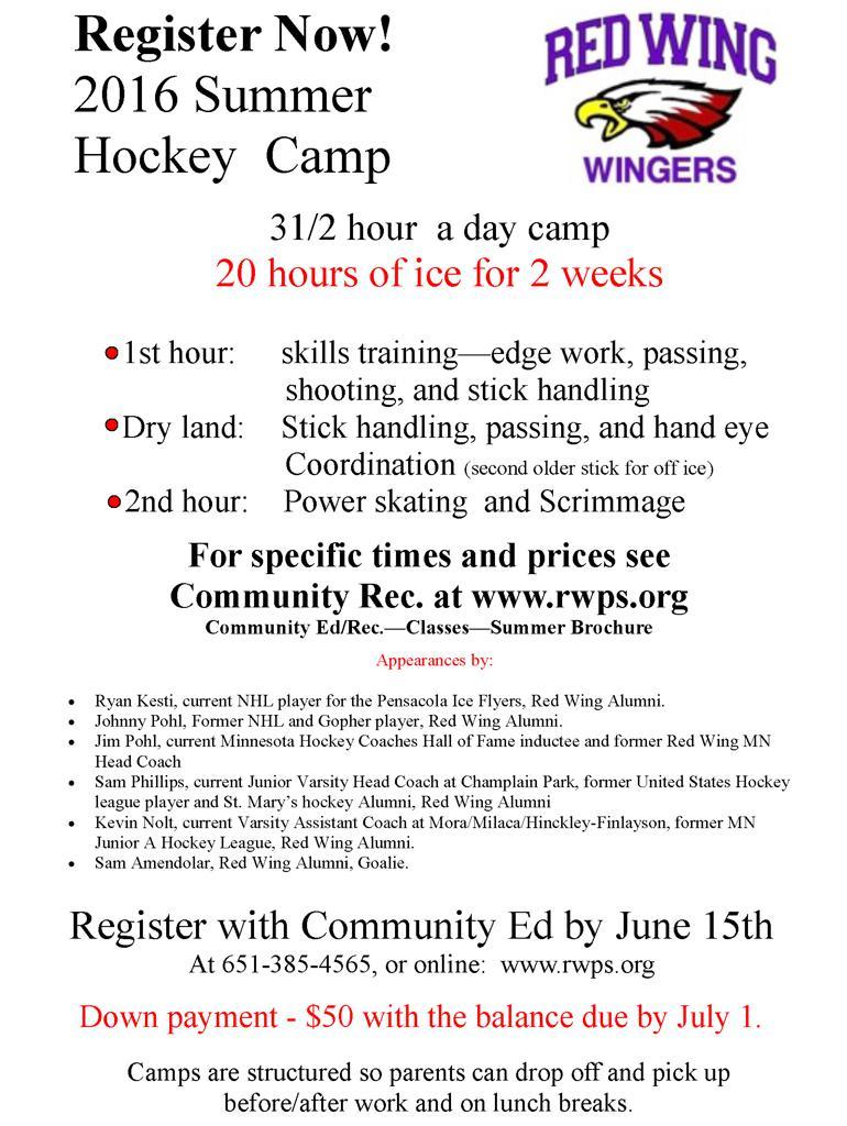 Summer Hockey Camp Flyer