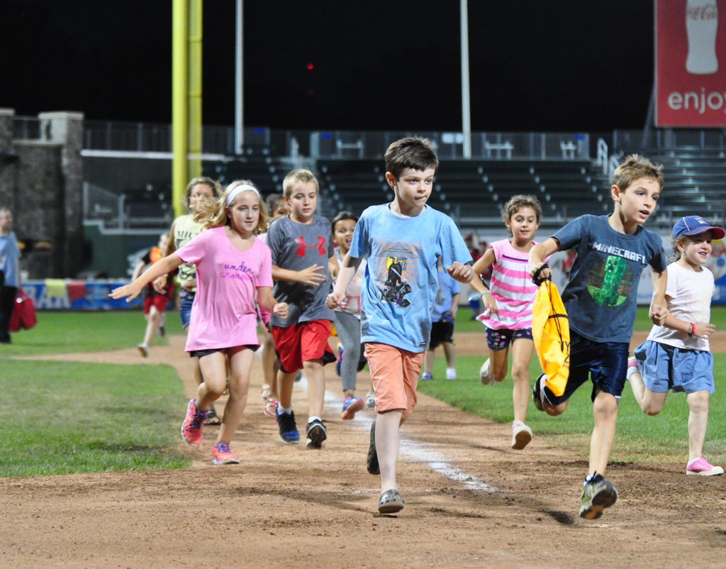 Kids Run the Bases after every Sunday Home Game for the Rockland Boulders. Things for your kids to do in Pomona, NY.
