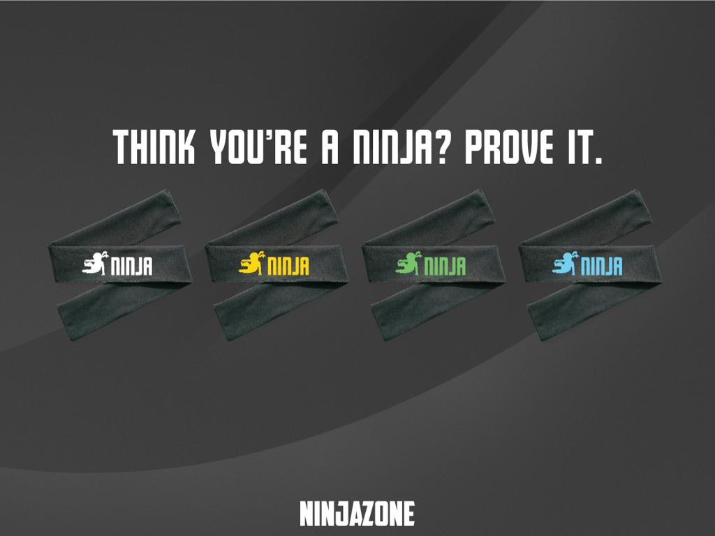 """""""Think you're a ninja? Prove it."""" with four different colored ninja headbands"""