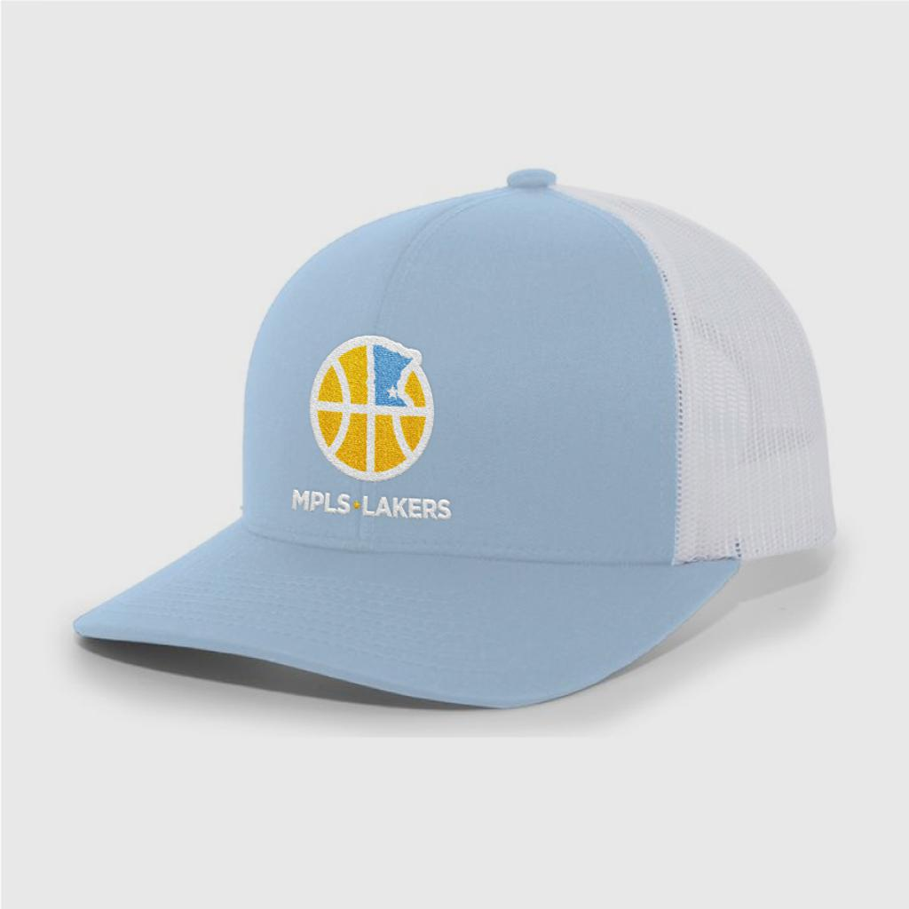 Official Mpls Lakers Youth Traveling Basketball Program Inc apparel and gear in Minneapolis, MN: Blue trucker hat with embroidered logo