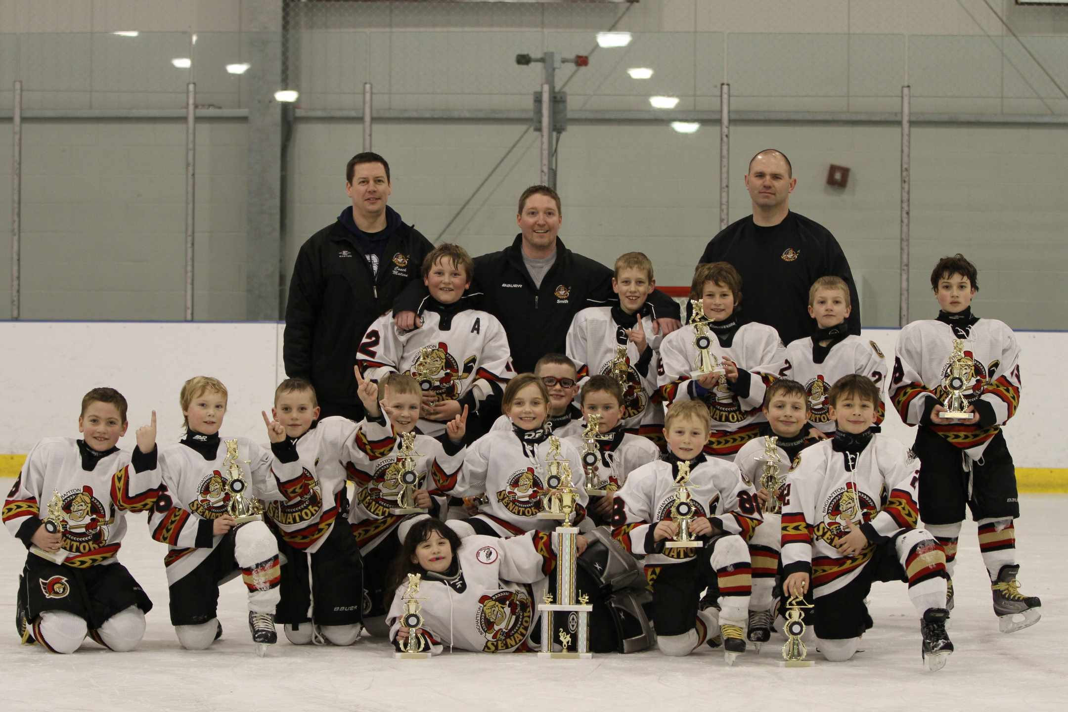 trophy case the binghamton jr senators mite a team won the mite a division of the skaneateles mite madness tour nt 4 6 2011