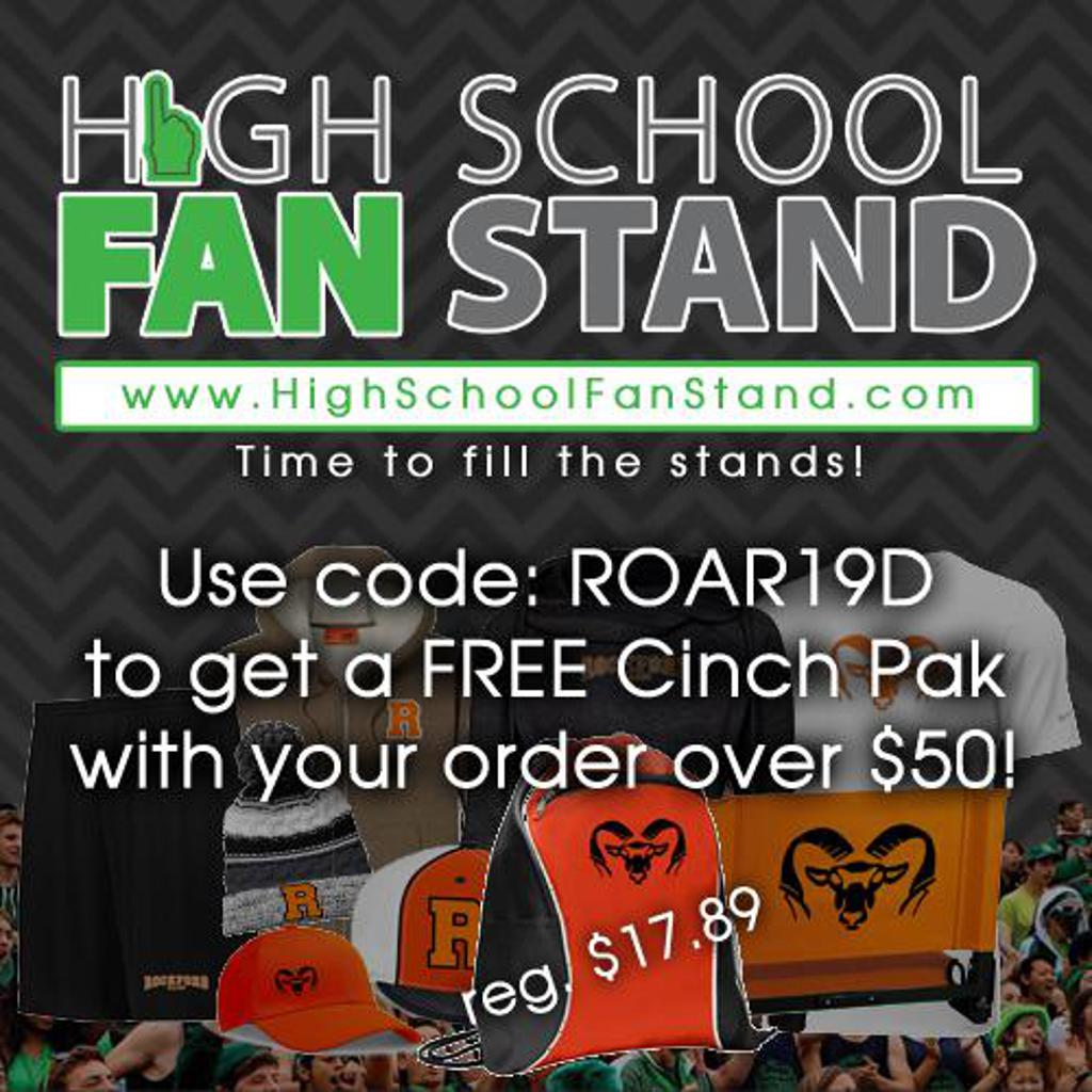 Receive a FREE Cinch Pack from High School Fan Stand with an order of $50 or more! Just use code ROAR19D.