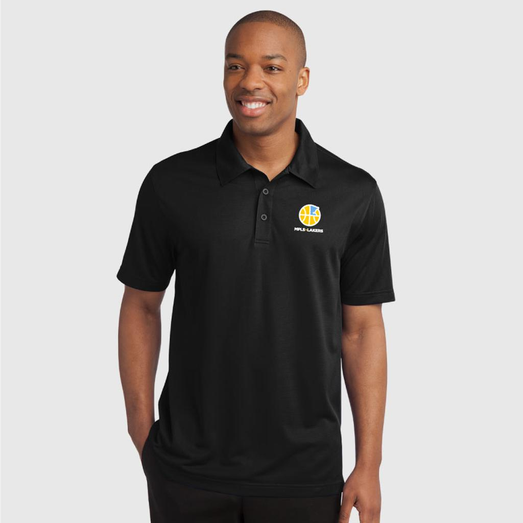 Men's Black polo shirt with embroidered logo and text