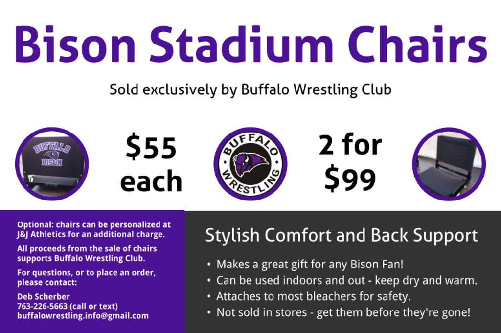 Buffalo Wrestling Club is the exclusive seller of Bison Stadium Chairs!