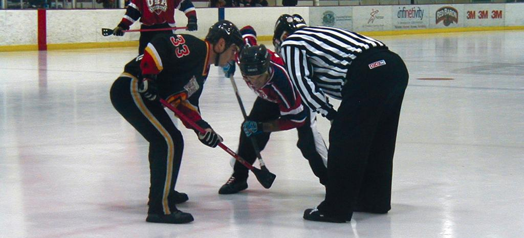 Broomball faceoff image