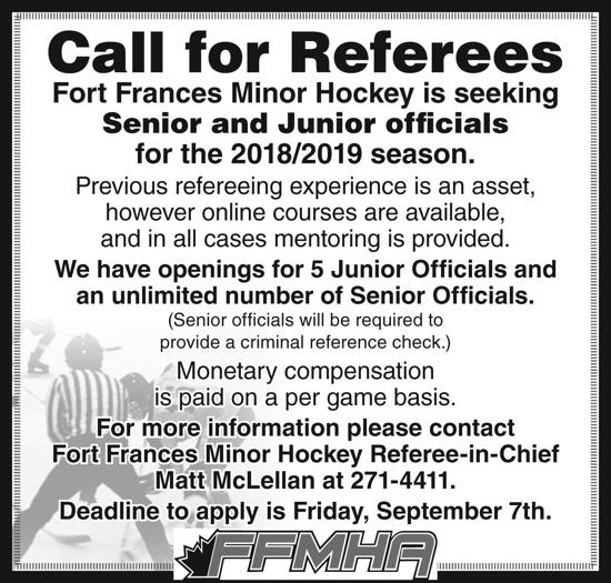 CALL FOR OFFICIALS