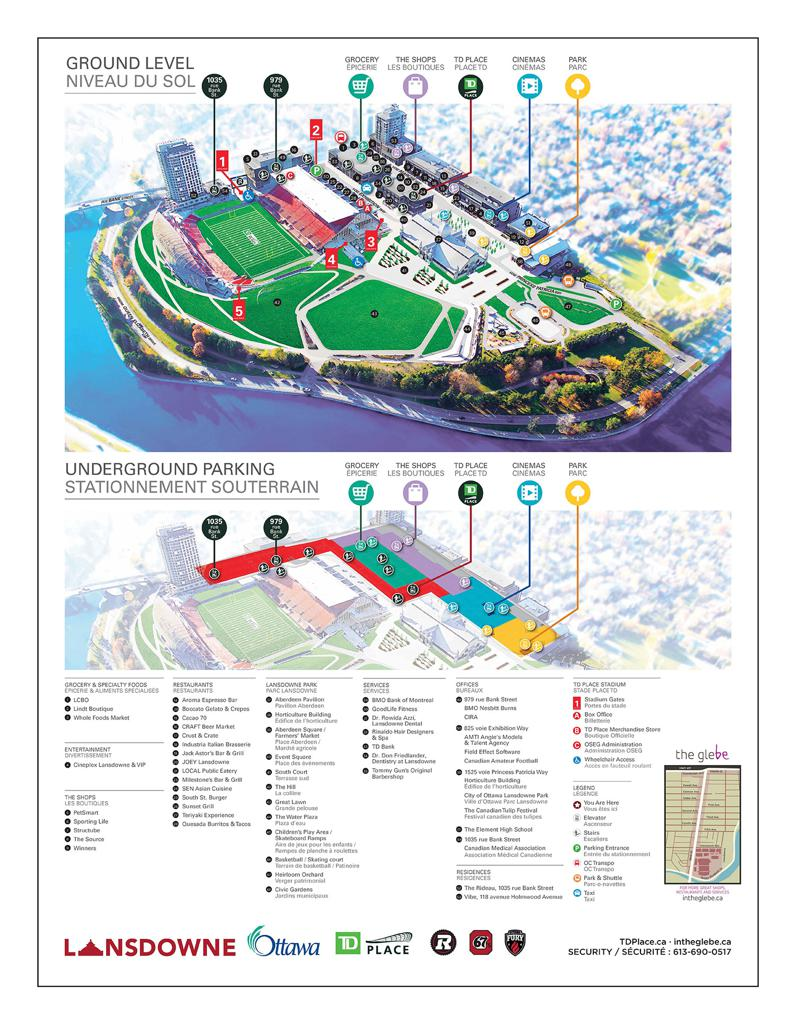 Site Map on TD Place including Lansdowne Park