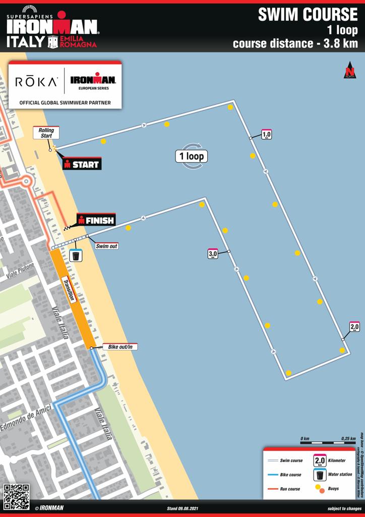 Swim percorso map IM Emilia Romagna