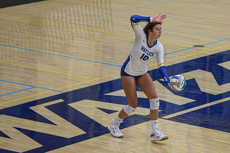 Freshman setter Stella Swenson (10) of Wayzata was one of two Trojans chosen to the Class 3A all-state team this fall. Photo by Mark Hvidsten, SportsEngine