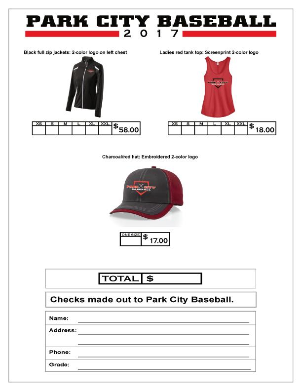 2017 Park City Baseball Spirit Wear Form 2