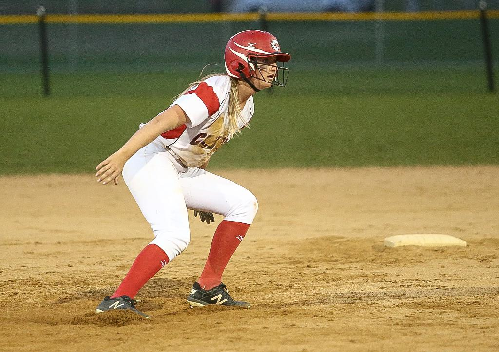 Coryn Jacobson got on base twice for the Cougars but was stranded at third base both times. Centennial fell to Maple Grove 3-0 to close out the Northwest Suburban Conference Showcase. Photo by Cheryl Myers, SportsEngine