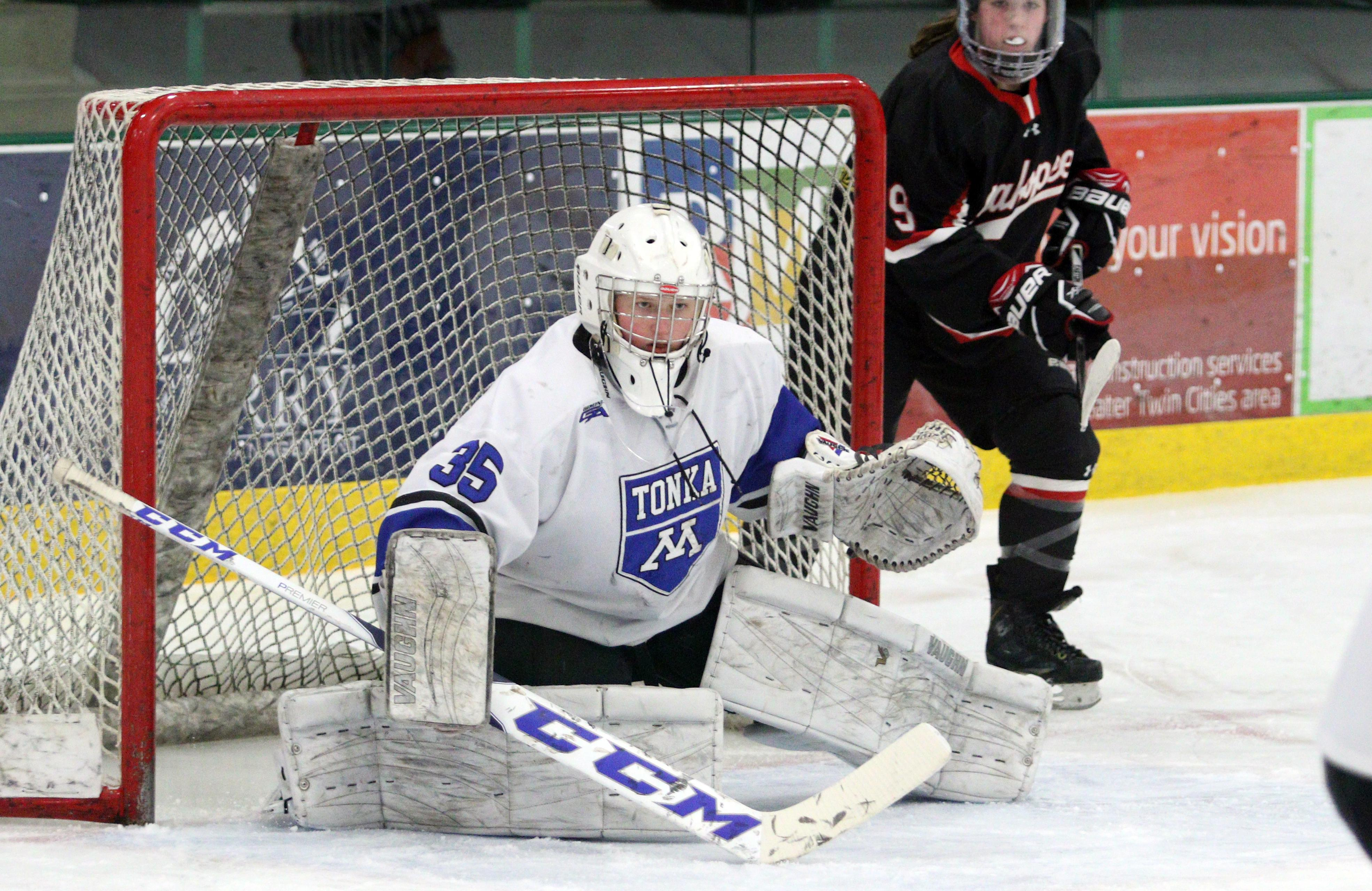 Minnetonka goaltender Elizabeth Kubicek tallied 33 saves on 34 shots in the Skippers Section 2AA semifinal win over Shakopee on Tuesday night.  Minnetonka will take on Eden Prairie on Friday night at Ridder Arena.  Photo by Cheryl Myers, SportsEngine