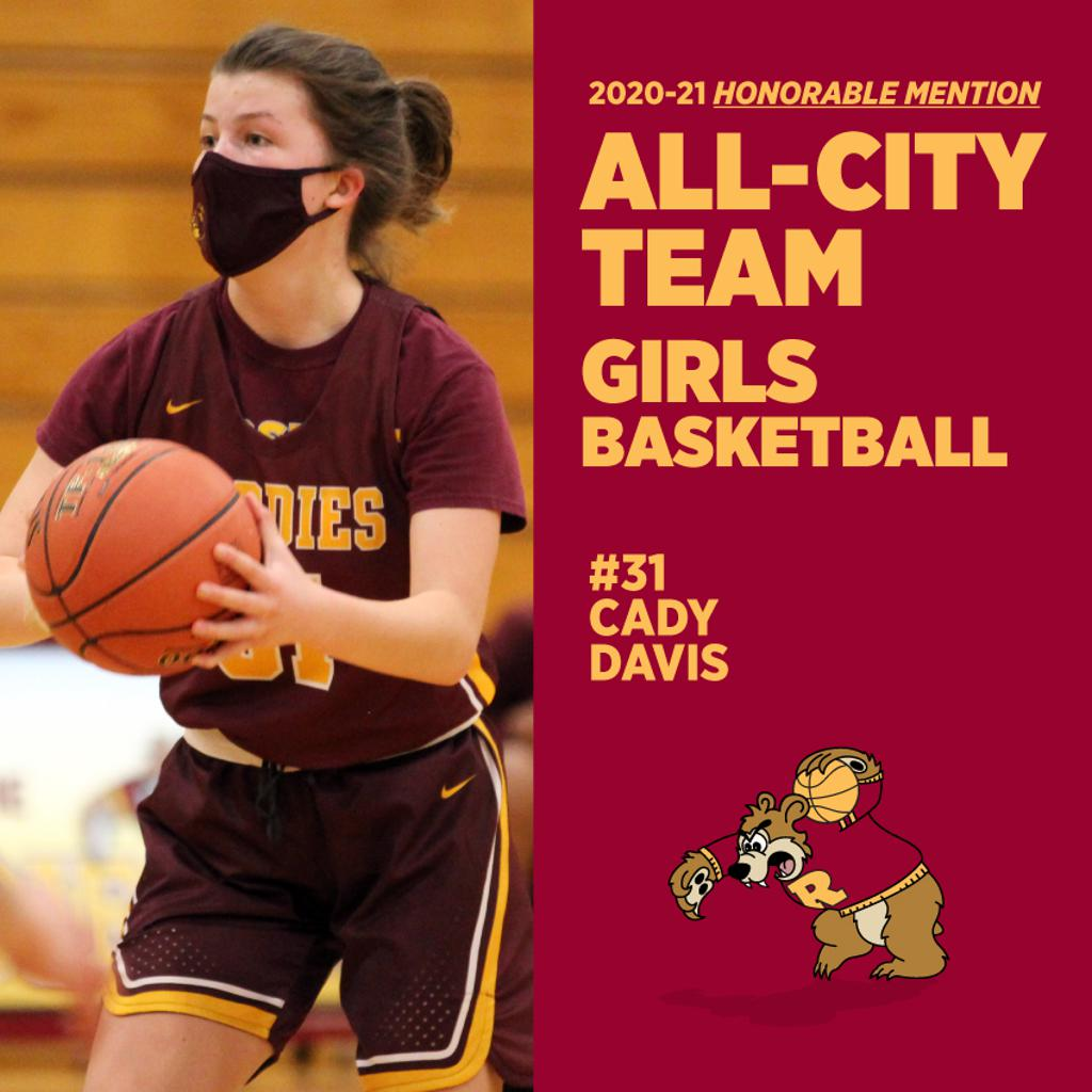 Minneapolis Roosevelt High School in South Minneapolis.  #31 Cady Davis was named as an Honorable Mention to the All-City Boys Basketball Team. This photo is her in action during one of the Girl's basketball games, Cady drives to the basket.