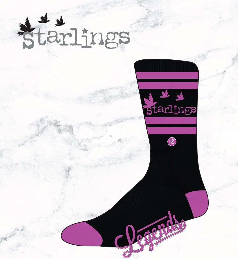 Black and pink Starlings socks