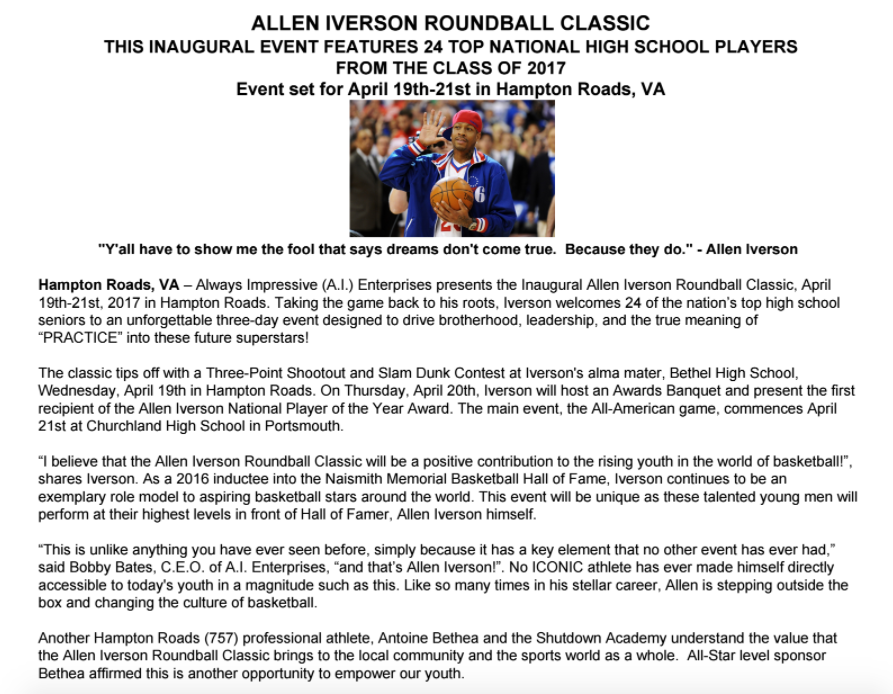 Inaugural Allen Iverson Roundball Classic Announced for