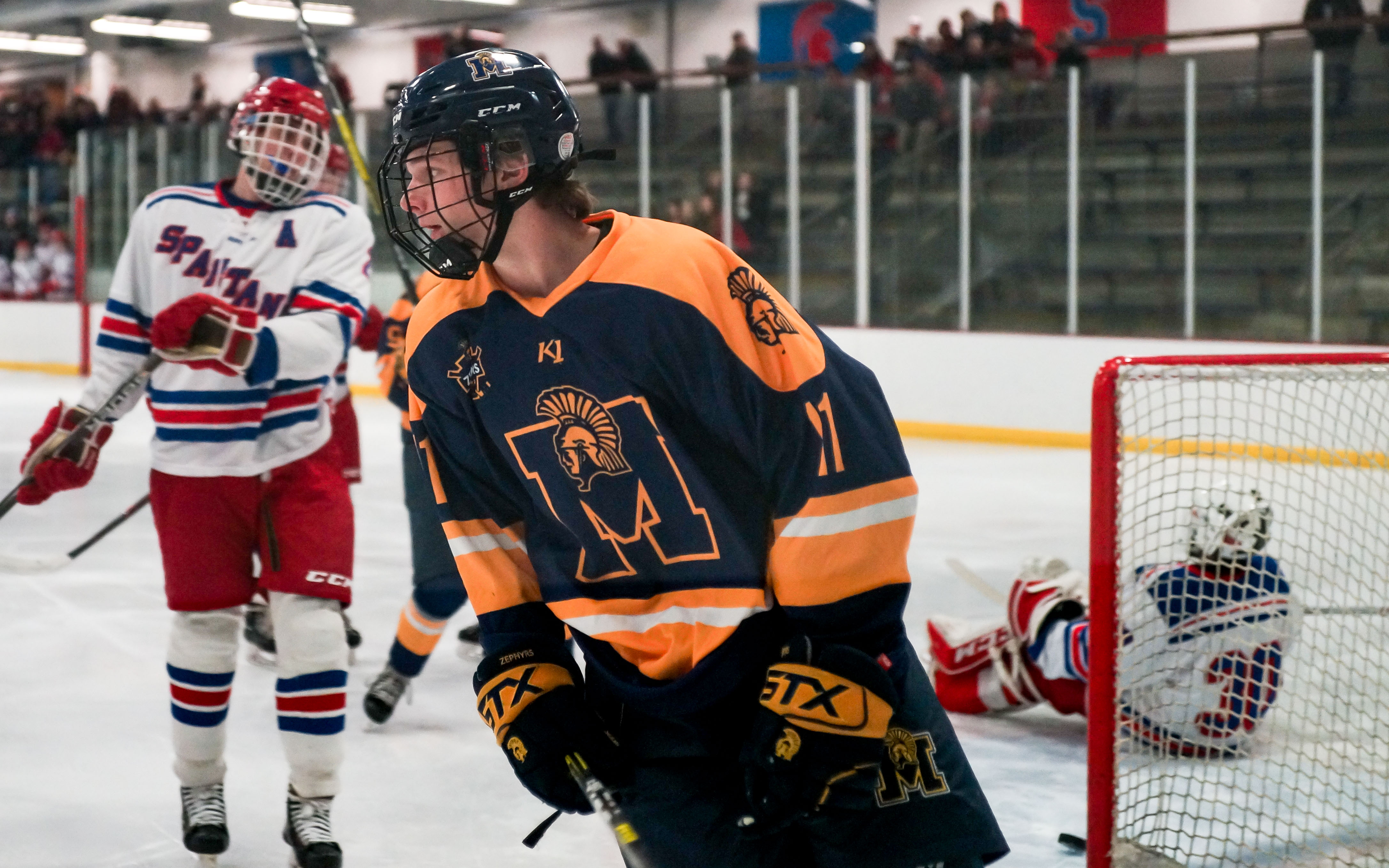 Mahtomedi's JD Metz opened the Zephers' scoring with a second-period goal Tuesday night against Simley. Photo by Korey McDermott, SportsEngine