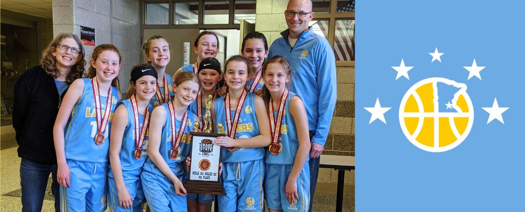 Mpls Lakers Youth Traveling Basketball Program Inc Girls 6th Grade Gold pose with their Trophy after placing 4th at MYAS Grade State 2020 year end tournament in Osseo, MN