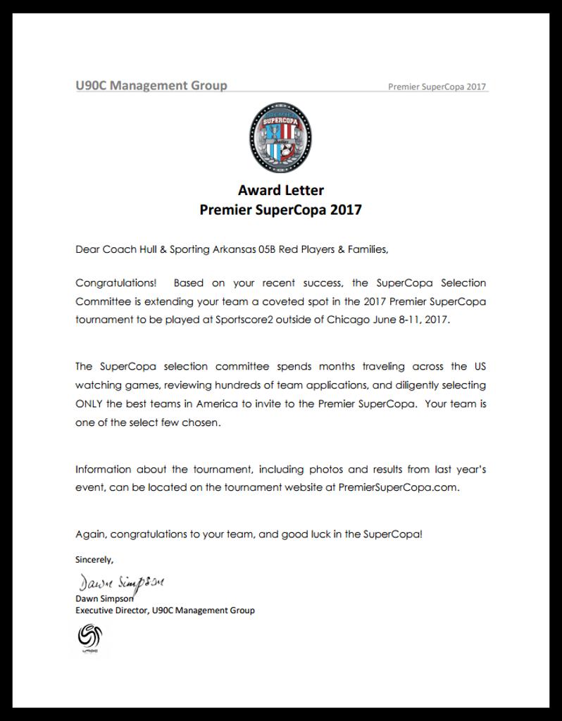 Award Letter Premier SupaCopa 2017