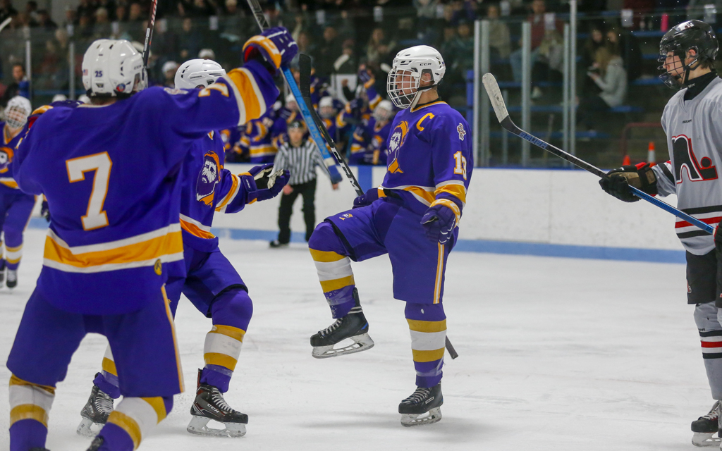 Cloquet's Gavin Rasmussen celebrates his second-period goal against Lakeville North. The Lumberjacks fell to the Panthers in overtime, 3-2. Photo by Jeff Lawler, SportsEngine