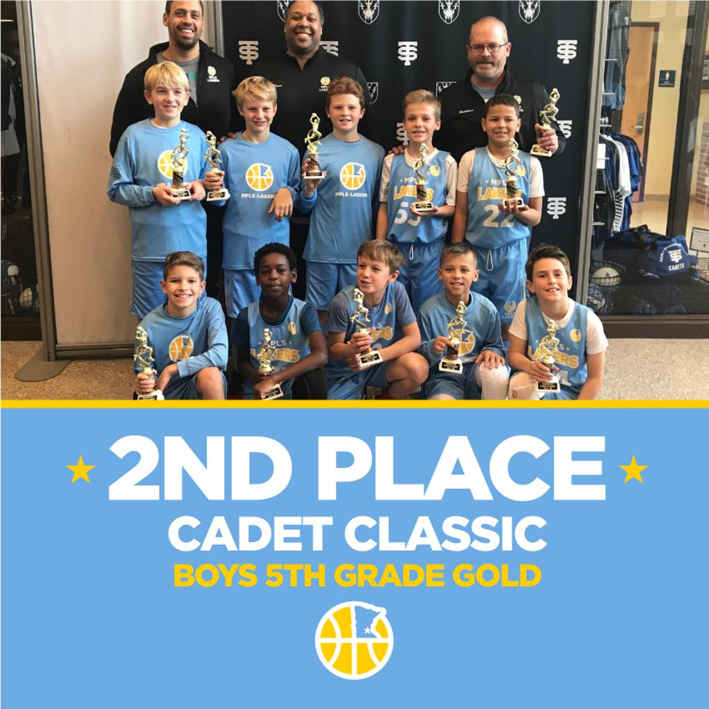 Boys 5th Grade Gold pose with their hardware after taking 2nd at Cadet Classic