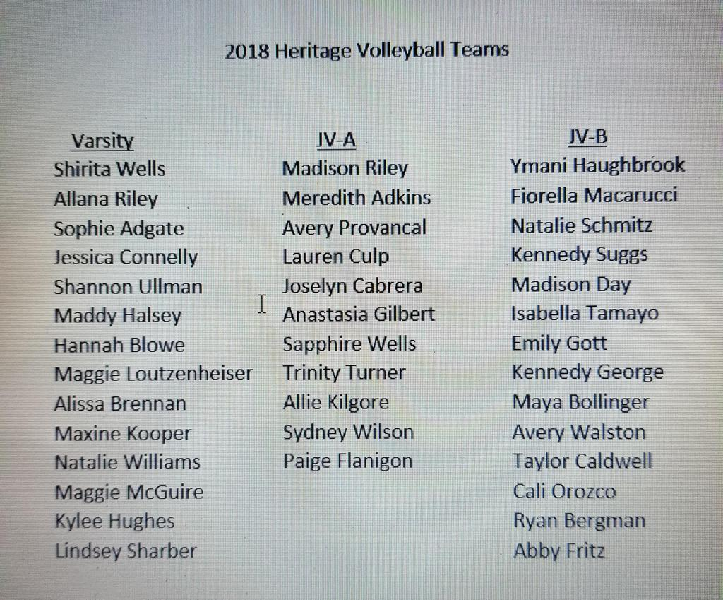 Congratulations to the members of the 2018 Heritage Volleyball Teams. Thank you to all the girls who participated in try-outs.