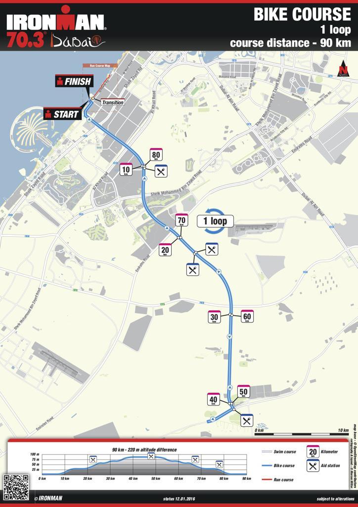 Bike course map IM703 Dubai