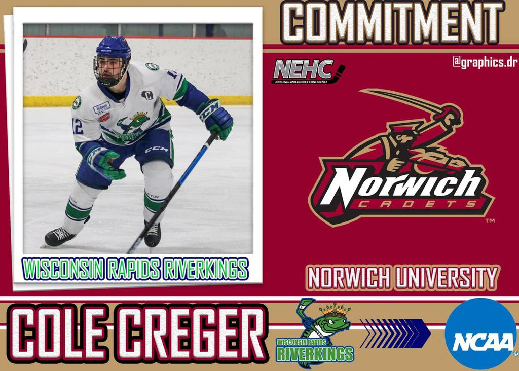 Congratulations to our Captain and all time leader in games played, most points Cole Creger on his commitment to Norwich University. Great to see hard work and dedication pay off! Congratulations Cole!!