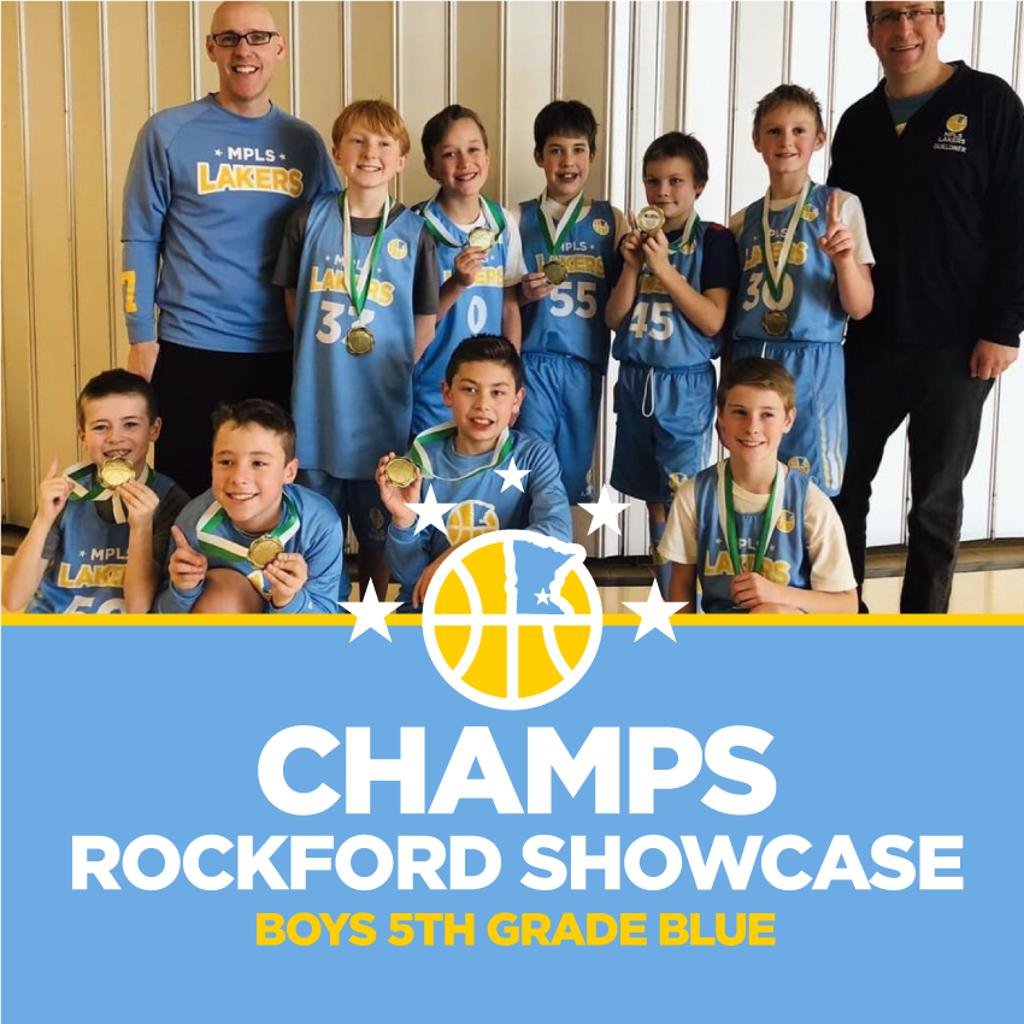 Boys 5th Grade Blue pose with their hardware after taking 1st at Rockford Showcase