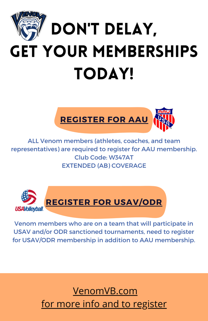 Announcement for AAU and USAV/ODR Memberships