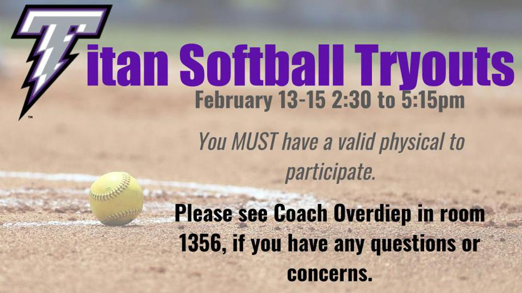 titan softball tryouts poster advertisement