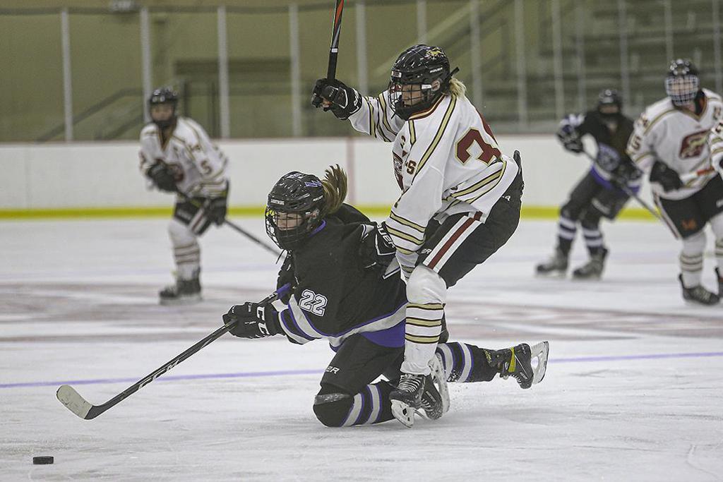 Eastview freshman Ellie Groebner (22) gets tangled up with Lakeville South's MacKenzie Luce. Photo by Mark Hvidsten, SportsEngine