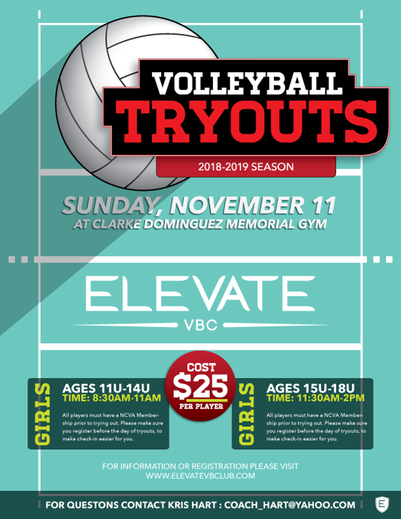 Elevate Girls Volleyball Tryouts 2018-19 Season