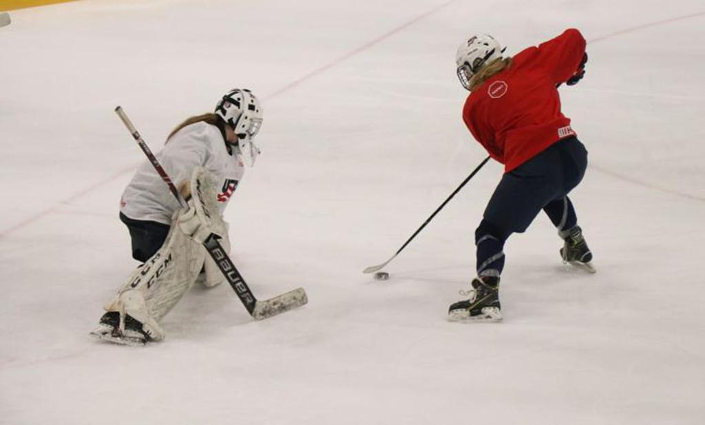 Andover junior Peyton Hemp handles the puck during a Team USA U18 World Team practice. Hemp and Team USA won gold over Canada in overtime during the IIHF U18 World Championships in Slovakia Dec. 26-Jan. 2. The attention now turns back to the high school s